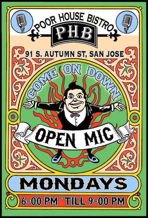 poor house bistro open mic flyer