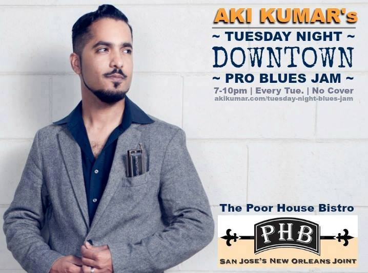 aki kumar blues jam flyer for poor house bistro